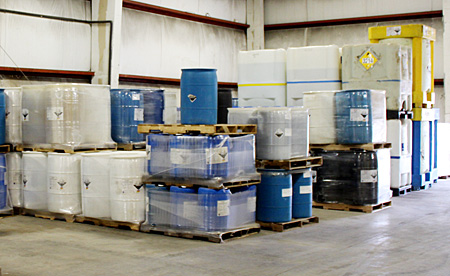 Water Treatment Chemicals in a Slack Chemical Company Warehouse